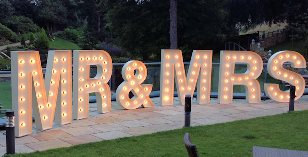 Mr And Mrs Large Wooden Letters: Illuminated Letter For Hire